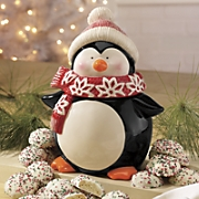 penguin cookie jar with cookies