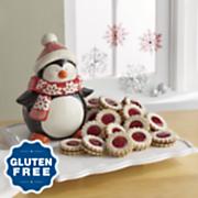 Penguin Cookie Jar with Gluten-Free Linzers