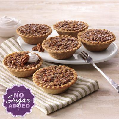 Six No Sugar Added Pecan Pies