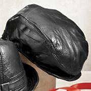 leather newsboy cap
