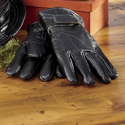 Patchwork Leather Fleece-Lined Gloves
