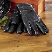 patchwork leather fleece lined gloves