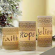 3 piece faith hope believe led candle set 2014