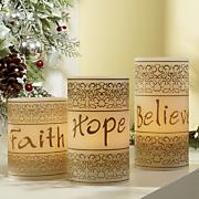 3 piece faith hope believe led candle set 2014