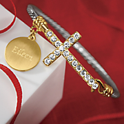 Personalized Two-Tone Crystal Cross Hinged Bangle
