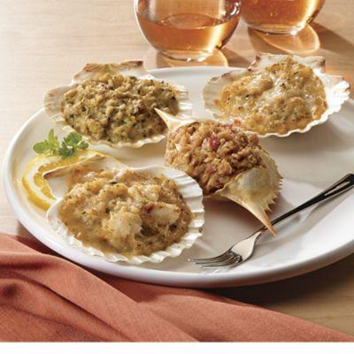 Scallop & Cheese Stuffed Scallop Shells /Crab & Artichoke Stuffed
