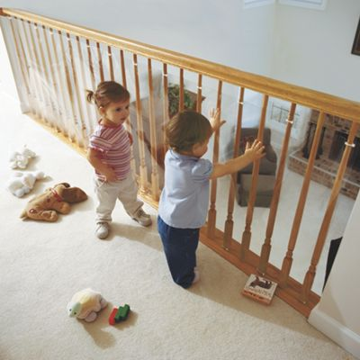 clear banister guard kit for kids safety and 15 ft roll. Black Bedroom Furniture Sets. Home Design Ideas