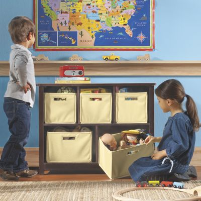 Kids Wood Bookcase/Toy Organizer with Storage Bins