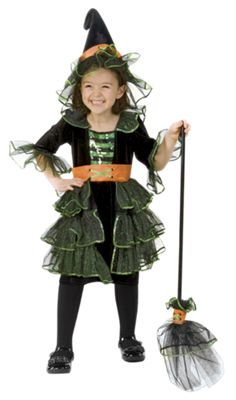 Girls Glam Witch Costume with Hat