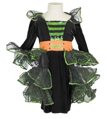 Girls Glam Witch Halloween Costume with Hat