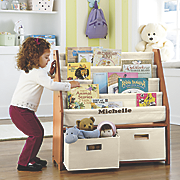 Personalized Kids Sling Bookshelf with Storage Bins