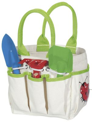 Kids gardening tool set with tote from one step ahead 32003 for Small garden tool carrier