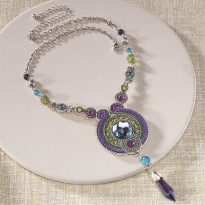 Crystal Beaded Art Deco Necklace