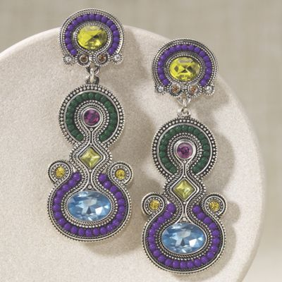 Crystal Beaded Art Deco Earrings