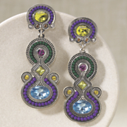 Earrings Crystal Beaded Art Deco