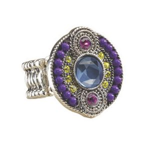 Crystal Beaded Art Deco Stretch Ring