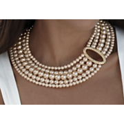 Necklace Faux Pearl And Crystal Oval