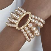 Multi Strnd Fx Pearl Cryst Oval Bracelet
