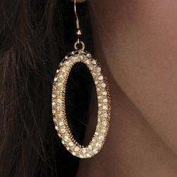 Faux Pearl and Crystal Oval Earrings