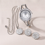Watch, Pendant and Earring Pavé Crystal Gift Set