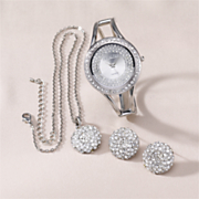 Watch Pendant And Earring Pave Crystal Gift Set