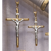 Crucifix Pendant 10k Gold Two Tone