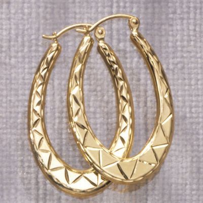 Diamond-Cut Oblong Hoop Earrings