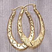 Hoops Diamond Cut Oblong