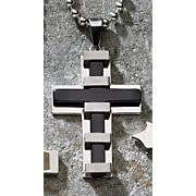 Cross Pendant Silvertone And Black