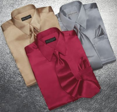 Satin Shirt and Tie Set