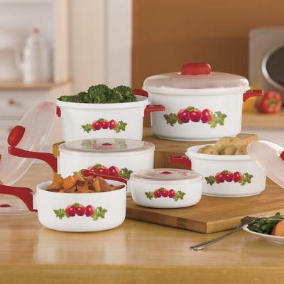 12-Piece Red Apple Microwave Pan Set