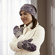 marled knit headband and mitten set