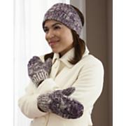 marled knit headband and mitten set