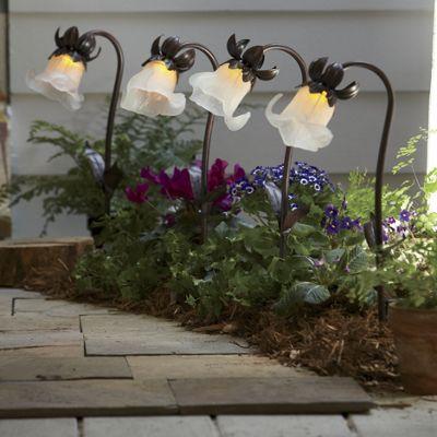 Set of 4 Solar Flower Stakes