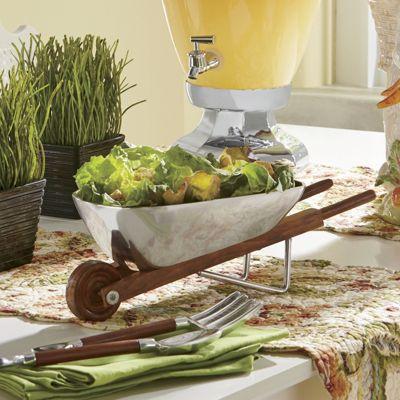 Wheelbarrow Salad Bowl & Servers