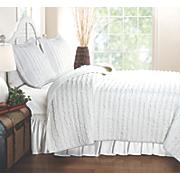 Ruffled White Quilt Set
