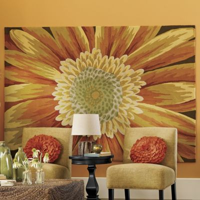 Hand-Hooked Sunflower Rugs from Through the Country Door