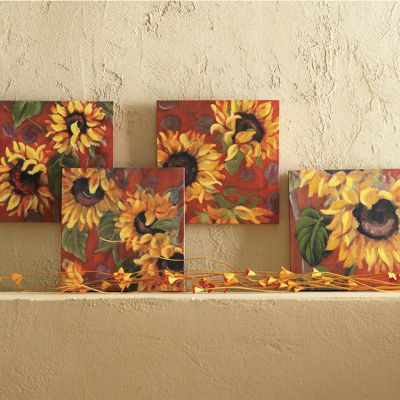 Set of 4 Sunflower Canvases
