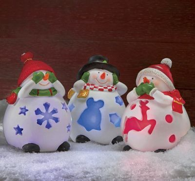 Set of 3 Solar Snowmen Porch Sitters