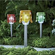 set of 3 solar mushroom stakes
