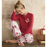 henley lounge top and flannel lounge pant