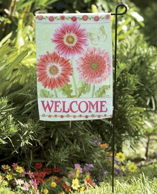 Gerbera Welcome Flag & Stake