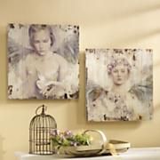 set of 2 angel plaques