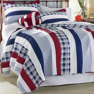 Nautical Stripe Oversized Reversible Quilt and Sham