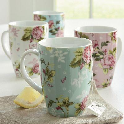 Set of 4 Chintz Mugs