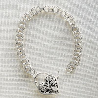 Sterling Silver Keepsake Heart Bracelet