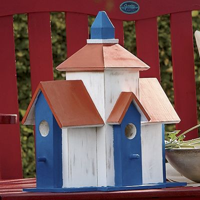 Red, White & Blue Wooden Birdhouse
