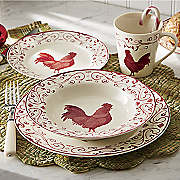 16 Piece Rooster Toile Blue Dinnerware Set