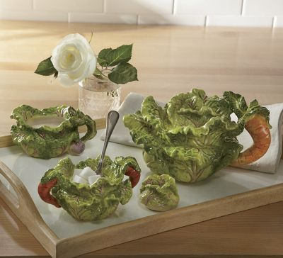 Cabbage Teapot and Cream & Sugar