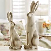 set of 2 rabbit figurines